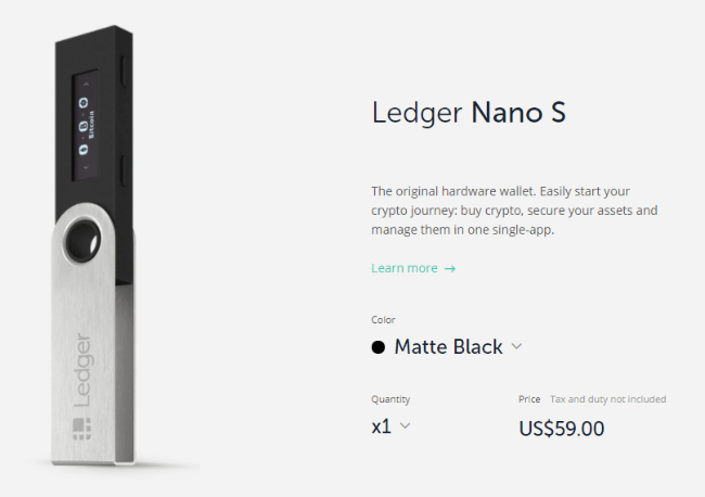 Capture d'écran de Ledger Nano S