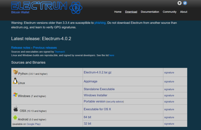 Capture d'écran de electrum.org